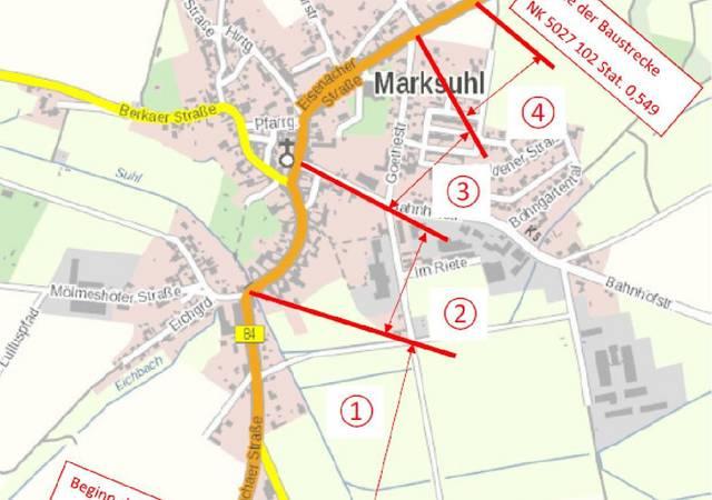 Übersichtsplan Teilabschnitte B84 OD Marksuhl   Quelle TLBV Planungsbüro PBB